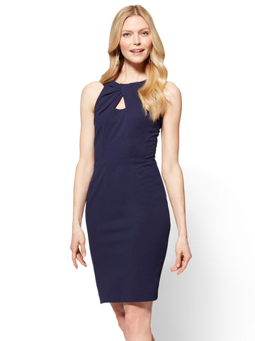 Pleated-Accent Sheath Dress in Grand Sapphire