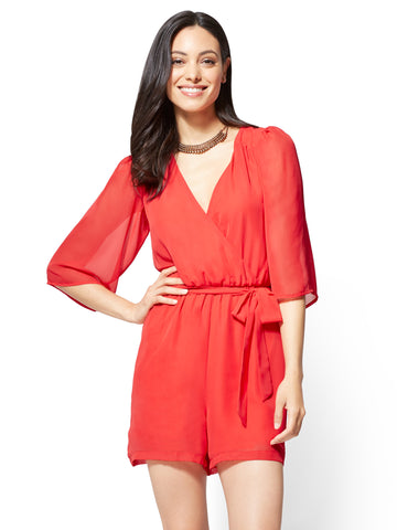 Bell-Sleeve Romper in Ultra Red