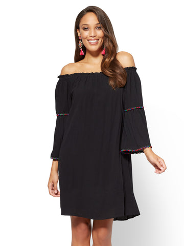 Pom-Pom Trim Off-The-Shoulder Shift Dress in Black