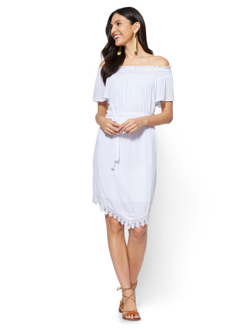 Crochet-Trim Off-The-Shoulder Dress in Paper White