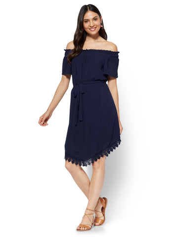 Crochet-Trim Off-The-Shoulder Dress in Grand Sapphire