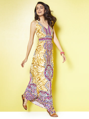V-Neck Maxi Dress - Tie-Dye & Graphic Prints in Daffodil