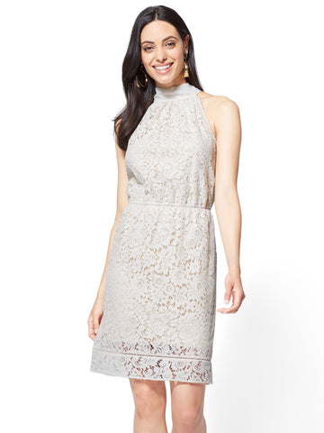 Lace-Overlay Halter Dress in Baked Ivory