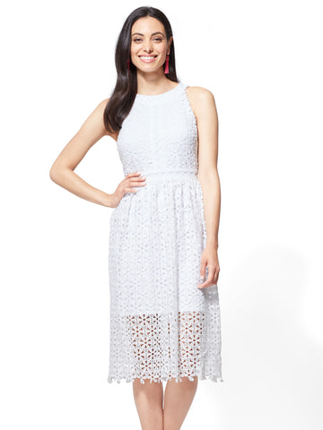 Lace Halter Fit & Flare Dress in Paper White