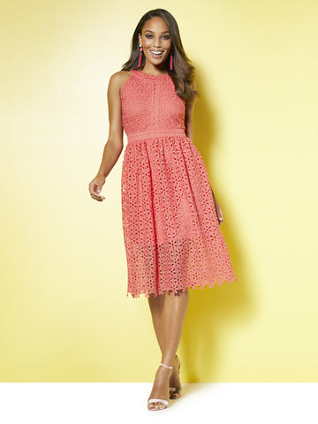 Lace Halter Fit & Flare Dress in Papaya