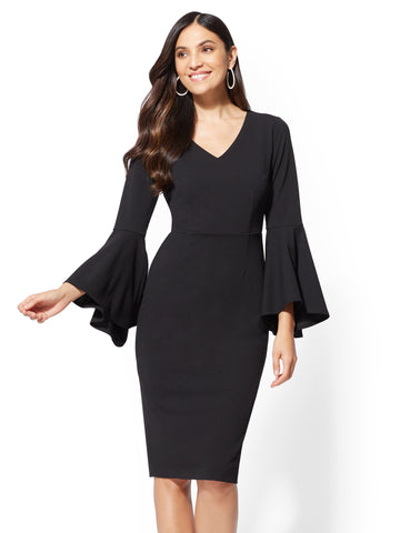 7th Avenue - Bell-Sleeve Sheath Dress in Black