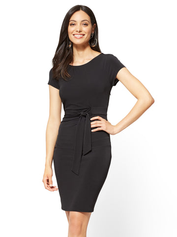 Cap-Sleeve Sheath Dress in Black
