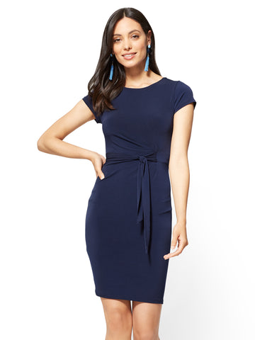 Cap-Sleeve Sheath Dress in Grand Sapphire