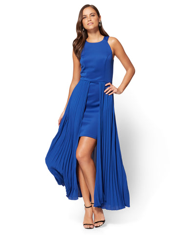 Pleated Overlay Maxi Dress in Rhapsody Blue