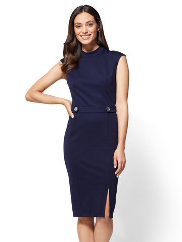 Mock-Neck Sheath Dress - Ponte in Grand Sapphire
