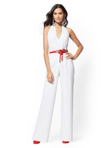 804269d4c853 NEW YORK   COMPANY Ivory Halter Jumpsuit in Winter White