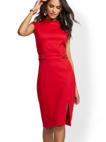Jeweled-Button Ponte Sheath Dress in Coco Red