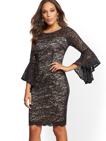 NEW YORK   COMPANY Lace-Overlay Bell-Sleeve Sheath Dress in Black f354ebfd2