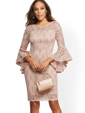 Lace-Overlay Sheath Dress in Rose Gold Metallic Scs