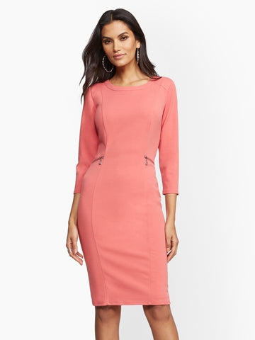 309bc944b306 NEW YORK   COMPANY Scuba Crepe Zip-Accent Sheath Dress in Pink Rouge