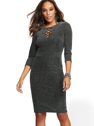 Metallic Lace-Up Sheath Dress in Silver