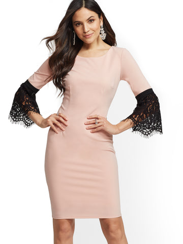 122358531ad6 NEW YORK   COMPANY Lace Bell-Sleeve Sheath Dress in Pink Honeybunch