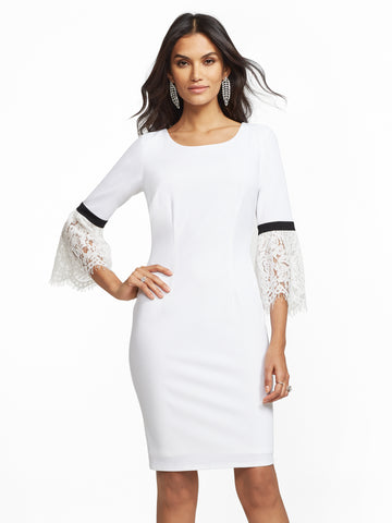 48d65ca7245d NEW YORK   COMPANY Lace Bell-Sleeve Sheath Dress in Winter White