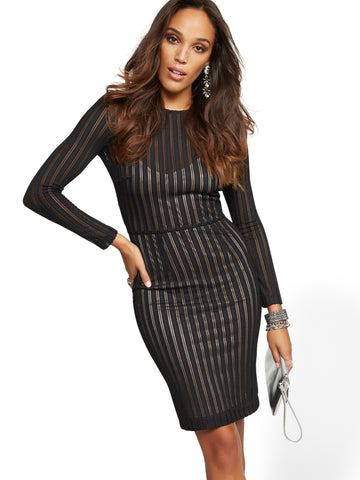 Black Mesh Stripe Sheath Dress in Black
