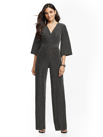96c79d64415d NEW YORK   COMPANY Metallic Bell-Sleeve Wrap Jumpsuit in Silver