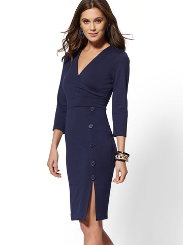 2acc02676068 NEW YORK   COMPANY Button-Accent Wrap Sheath Dress in Grand Sapphire