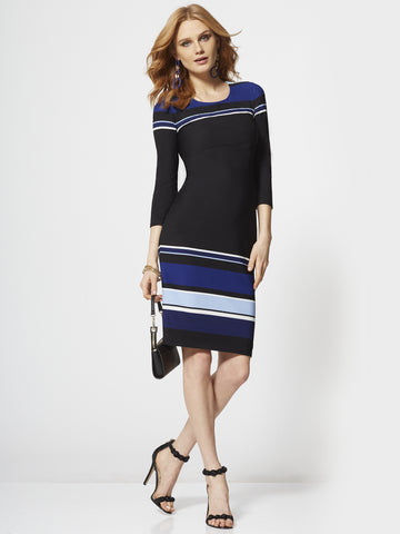 47a31cb8eab7 New York   Company 7th Avenue - Stripe 3 4-Sleeve Dress in Amplified