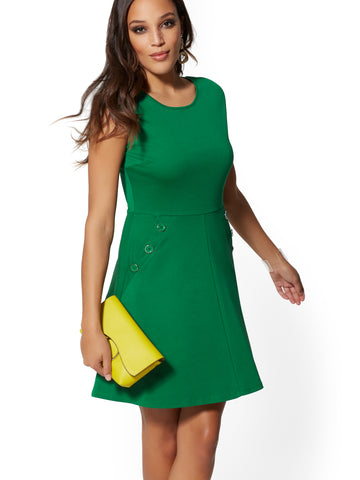 Button-Accent Cotton Fit and Flare Dress in Irish Landscape