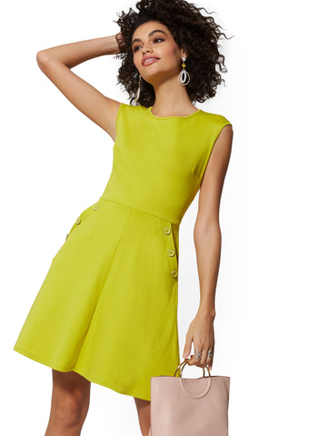 Button-Accent Cotton Fit and Flare Dress in Renewing Green
