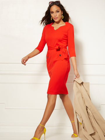 7th Avenue - Split-Neck Scuba Sheath Dress in Campfire Red