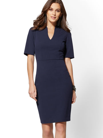 25c1fc3575 New York   Company 7th Avenue - V-Neck Scuba Sheath Dress in Grand Sapphire