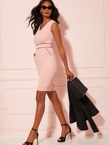 429c22af82954 NEW YORK   COMPANY 7th Avenue - Piped V-Neck Sheath Dress in Park Avenue