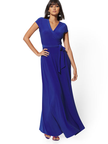 514738a77c2a New York   Company Wrap Maxi Dress in Blue Brilliance