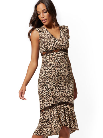 Leopard-Print Hi-Lo Midi Dress in Black