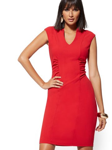 Ruched V-Neck Sheath Dress - Magic Crepe in Bell Pepper Red