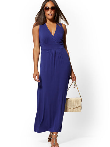 Sleeveless Wrap Maxi Dress in Amplified Blue