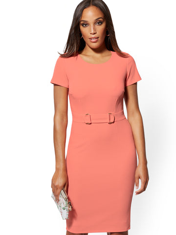 a3d04df5f New York & Company D-Ring Sheath Dress - Magic Crepe in Amazing Coral