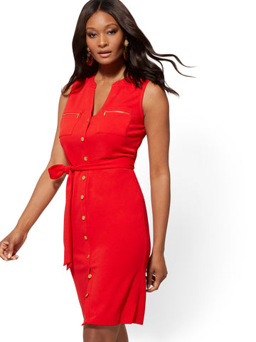 Goldtone Button-Accent Sheath Dress in Bell Pepper Red