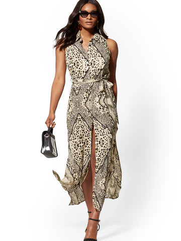 Leopard-Print Maxi Shirtdress in Black/White
