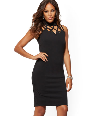 Lattice-Detail Sheath Dress - Magic Crepe in Black