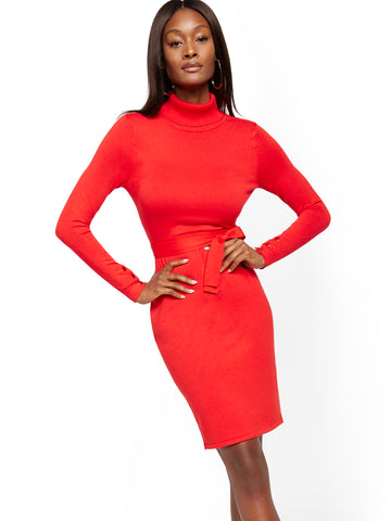 Turtleneck Sweater Dress - 7th Avenue in Bell Pepper Red