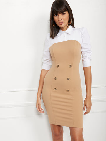 Button-Accent Poplin Twofer Sheath Dress in Classic Camel