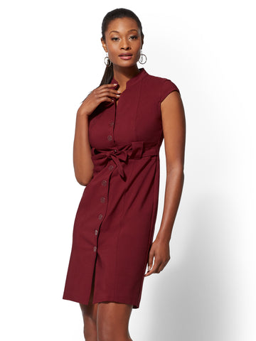 7th Avenue Sheath Dress - All-Season Stretch in Romantic Red