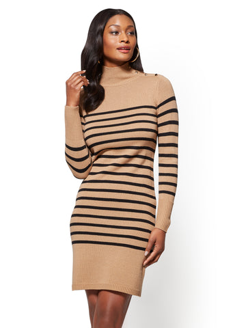 Button-Accent Sweater Dress - Stripe in Classic Camel
