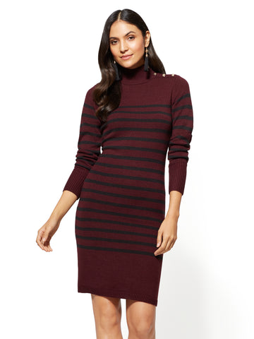 Button-Accent Sweater Dress - Stripe in True Burgundy