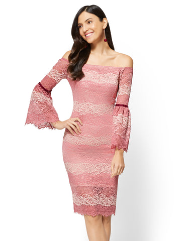Lace Off-The-Shoulder Sheath Dress in Cherry Blossom
