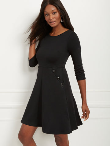 Fit and Flare Dress - Lightweight Ponte in Black