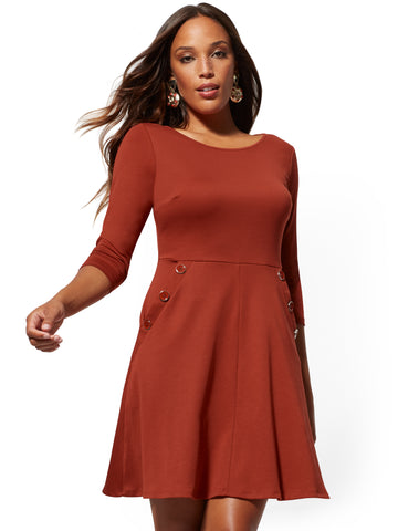 Fit and Flare Dress - Lightweight Ponte in Red Rooster