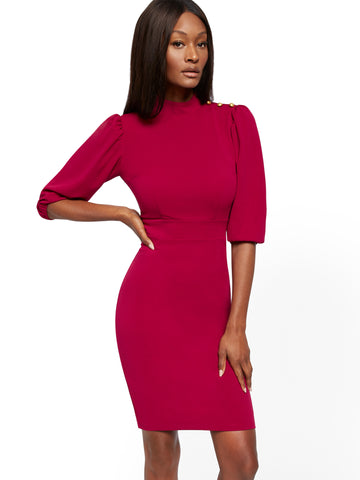 Button-Accent Sheath Dress - Magic Crepe in Wild Berries
