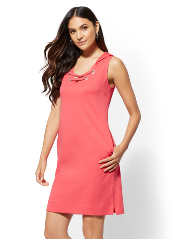 Lace-Up Hooded Knit Dress in Dynamite Coral