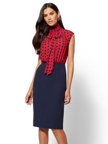7th Avenue - Bow-Accent Twofer Sheath Dress in Berry Red